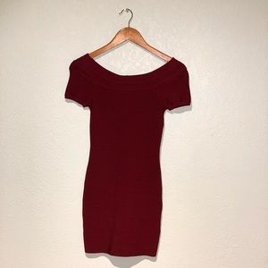 Bebe Red Body Con Mini Dress
